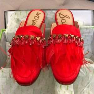 NEW with box. Sam Edelman Red Feather Slides